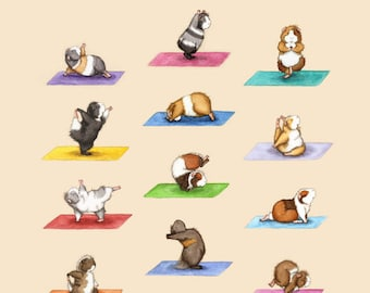 The Yoga Guinea Pigs Collection Art Print - Yoguineas Namast-Hay Poster cute yoga art