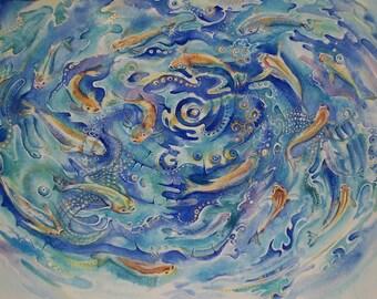 Pesci, pesci nel vortice, banco dei pesci, pesci ad acquerello / fishes in the vortex, shoal of fish, watercolor fishes, original painting