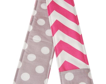 NEW Pink Chevron and Gray Dot Reversible Camera Strap Cover
