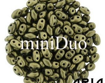 METALLIC SUEDE GOLD: MiniDuo Two-Hole Czech Glass Seed Beads, 2x4mm (10 grams)