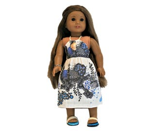 Tropical Ocean Original Print Sundress, Bead Bracelet and Sandals  for 18 Inch Dolls such as American Girl, Our Generation, Madam Alexander