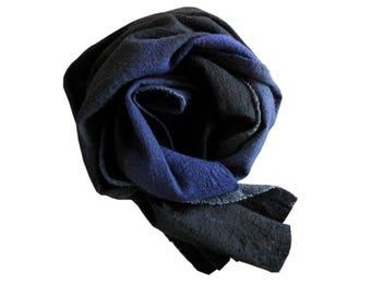 TUAREG BLUE scarf Indigo scarf Womens gift scarf blue scarf Merino wool scarf Unique handmade gift Felt shawl wrap Nuno felt scarf Regalo