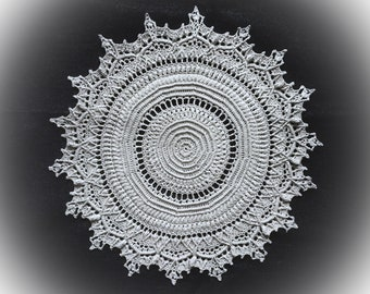 Silver crochet doily Round doily 15 inches diameter Crochet centerpiece Vintage doily Crochet lace doily Textured doilies Table decoration
