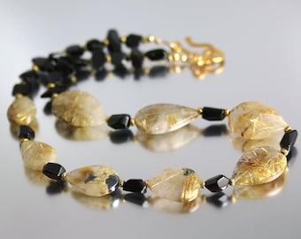 Golden Rutilated Quartz Necklace - 20 Inches - Rutilated Quartz Necklace - Black Spinel