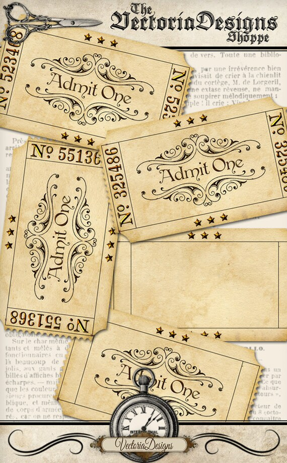 Printable Blank Vintage Tickets add text admit one printable