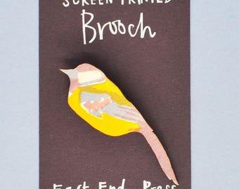 Blue Tit Wooden Screen Printed Brooch - pin badge