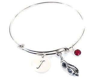 Hand Stamped Swim Swimmer Initial Charm Bracelet Bangle with Sterling Silver Swim Goggles Charm and Swarovski Crystal Birthstone