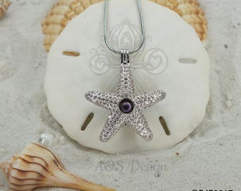 Pick A Pearl Cage Necklace Silver Plated Starfish with Crystals Locket Charm Holds Beads Pearls Gems Swarovski Crystal Elements