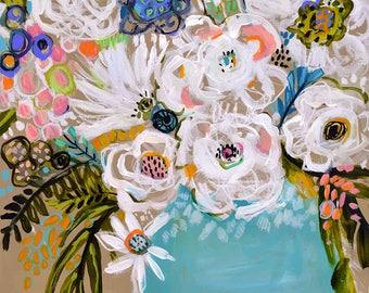 Summer Flowers in Blue Vase Painting on 18 x 24 Paper by Karen Fields