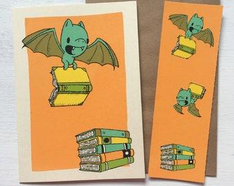 bat bookmark card, book card, screen printed card, bookshop gifts, bookmark