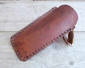 Vintage Leather Eyeglasses Case, Distressed Leather Glasses Case, Genuine Leather Case, Brown Leather Eye glasses case