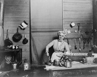 Vintage Woman Cooking in Kitchen 2 Photographs Instant Digital Download Scrapbook Junk Journal Altered Art Food Cookery