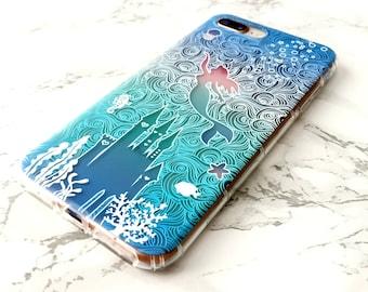 Mermaid iPhone Case Disney Little Mermaid Ariel iPhone X 8 7 6s 6 Plus Top Gift For Her Disney Mermaid Case Best Friend Top Silicone Case