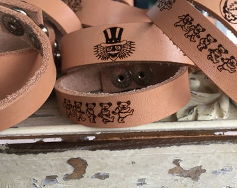Laser engraved Leather bracelet. syf grateful dead music dancing bear