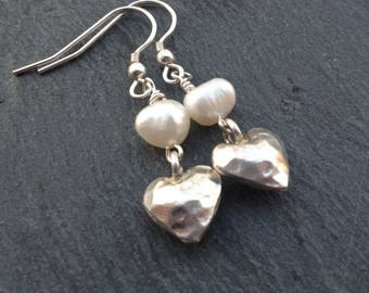 Karen Hill Tribe silver earrings/white freshwater pearl earrings/heart charm/bridal wear/wedding jewellery/June birthday/gift for her