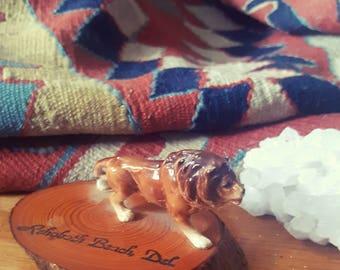 SALE Antique travel collectible figurine, bone China lion on cedar, Rehoboth Beach, Delaware