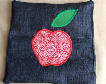 Homemade rice trivet. Hot pad. Denim applique hot pad.