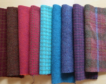 Red - Pink - Purple - Blue - Hand Dyed Felted Wool Fabric in a Beautiful Collection of Colors a Perfect Rug Hooking Wool 3201B