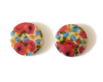 2 pearly white printed poppy 20mm round beads