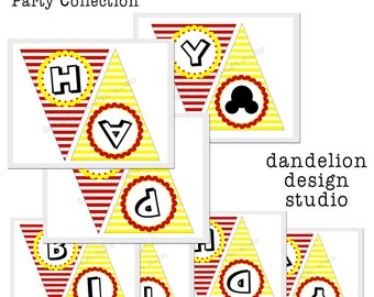 PRINTABLE Happy Birthday Banner - Mickey Mouse Party Collection - Dandelion Design Studio