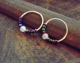 Small Earrings // Tiny Hoops earrings // Small beaded earrings // HOOPS
