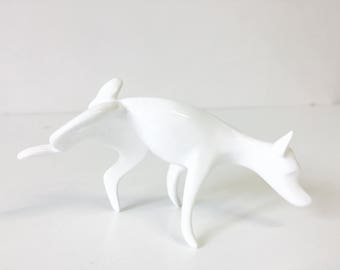 Peeing Dog handmade modern porcelain figurine. White and delicate