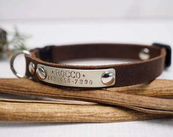 Cat collar, leather cat collar, Crazy horse collar, personalized cat collar, pet collar, breakaway collar, personalized collar, Gift for pet