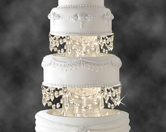 Swarovski and Rhinestone Crystal Chandelier Wedding Cake Tier Separator Set