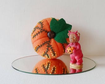 Hand Made Felt Autumn Halloween Orange & Green Pumpkin Decoration