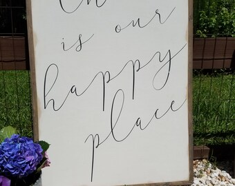 This Is Our Happy Place Framed Sign 2'x3'|Housewarming gift|Magnolia|Distressed|Farmhouse Sign