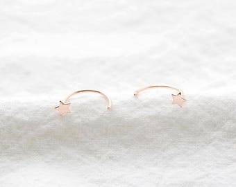 gold star round earring