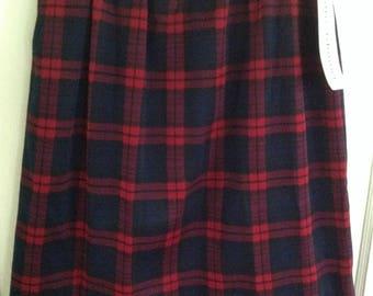 Vintage plaid double knit skirt