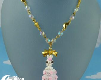 Rüschen Kuchen Hase 2   Halskette   Sweet Lolita Mode   Kawaii Häschen   Rose