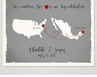 Custom Wedding Print Destination Wedding Gift  Memento Marriage Couple print alternative Signature Guest Books USA Mexico Map Signature Map