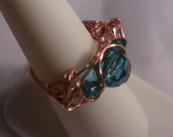Indicolite Swarovski Crystal Ring in Copper, size 7