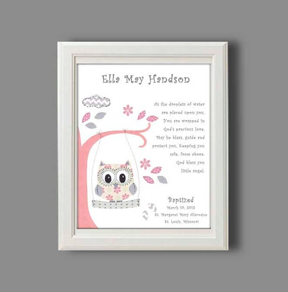 Baby girl baptism gift christening gifts for girl owl baby girl baptism gift christening gifts for girl owl nursery decor personalized gift for baptism christening keepsake print negle Image collections
