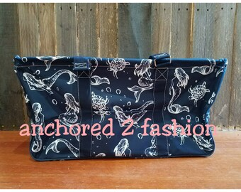 Navy Mermaid Large Framed Tote