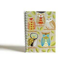 Forest Owls Notebook A6 Spiral Bound - Pocket Writing Journal, Back to School, Blank Sketchbook, Gifts Under 20, Woodland Friends, Cute