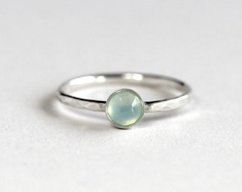 Aqua Chalcedony Stacking Ring - Chalcedony Ring -Rings For Women - Stacking Ring - Silver Ring - Stack Ring - Gift For Women - Gift For Her