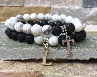 Partner bracelets letters name bracelet set him and lava stone gemstone 8 mm long distance relationship