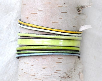 Mixed Field Tones Bangle Set - Handmade Enamel Bracelets