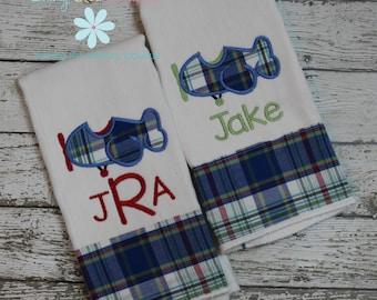Baby Gift Set - Set of 2 Monogrammed Burp Cloths - Airplane Burp Cloths  - Burp Cloths with monogrammed