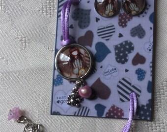 """Set cabochon """"girl and pink clock."""
