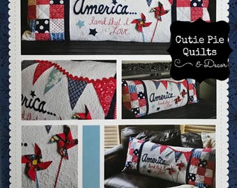 """Quilt Pattern """"America Land That I Love""""Interchangeable Bench Pillow Covers by Kimberbell~Patriotic Pillow Pattern~Patriotic Decor"""