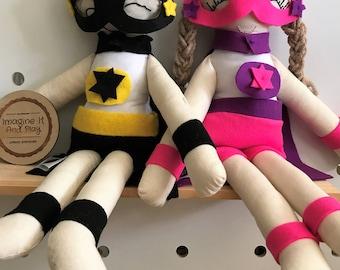 Superhero Doll, fabric doll, soft doll, rag doll, cloth doll, handmade doll, kids decor, superhero, gift for kids, boy doll,