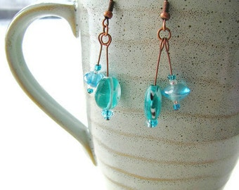 Mint Candy Earrings Lampwork Glass and Antique Copper Choose Blue or Green CLEARANCE