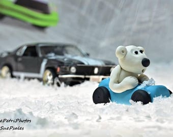 Polar Bear Car Race, Fine Art Photograph, Greeting Card or Magnet, Toy Photography, Still Life Photography, Kids Room Wall Art, Playroom Art