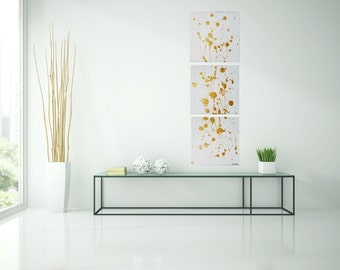 Abstract painting, acrylic, gold, white, painting, art, painting, original art by Camilla Schima