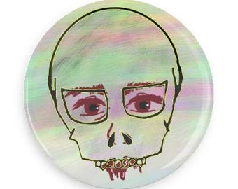 "SALE Watercolor Skull 1.25"" Pin, Watercolor Accessories, Girl Skeleton, Girl Skull, Bleeding Skull, Tumblr Accessories, Alt , Pastel Goth"