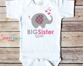 Big Sister Shirt Elephant Personalized Shirt Sibling Announcement Shirt